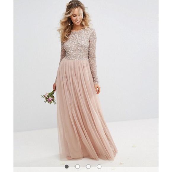 8080ee2a9a53 NWT ASOS MAYA long sleeve maxi dress with sequin NWT